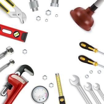 Zestaw ikon narzędzi naprawy realistyczne hydrauliczne