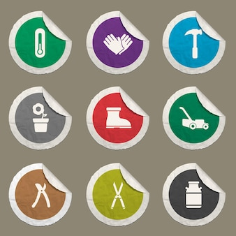 Zestaw ikon narzędzi ogrodniczych dla stron internetowych i interfejsu użytkownika