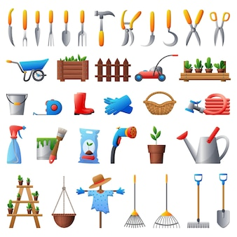 Zestaw ikon narzędzi ogrodniczych.