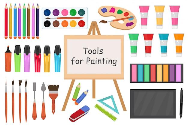 Zestaw ikon narzędzi płaskich stylu sztuki. narzędzie do rysowania, kolekcja obiektów artysty ze znacznikami, farbami, ołówkami, pędzlami, tabletem i rysikiem. akcesoria szkolne.