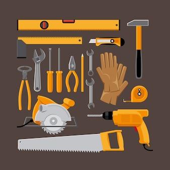 Zestaw ikon narzędzi ręcznych w stylu płaski. młotek i piła tarczowa, wiertarka i rękawice. ilustracji wektorowych