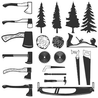 Zestaw ikon narzędzi stolarskich, drewna i drzew. elementy logo, etykiety, godło, znak. ilustracja