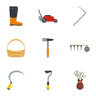 Zestaw ikon narzędzi wsi, płaski
