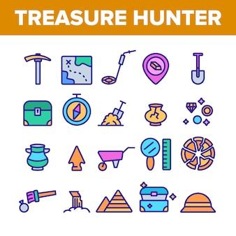 Zestaw ikon narzędzia poszukiwacza skarbów