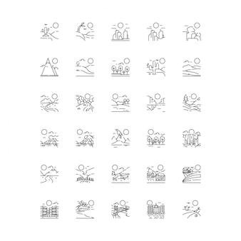 Zestaw ikon natura pejzaż na białym tle w stylu linii
