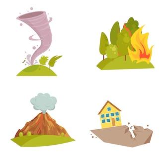 Zestaw ikon naturalnych kataklizmów. fala tsunami, wir tornada, płomień meteorytu, wybuch wulkanu, burza piaskowa