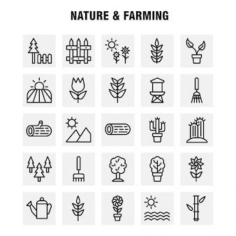 Zestaw ikon natury i linii hodowlanej