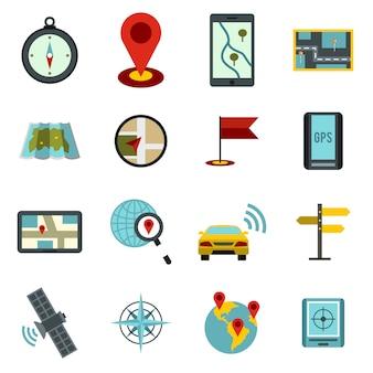 Zestaw ikon nawigacji, płaski ctyle