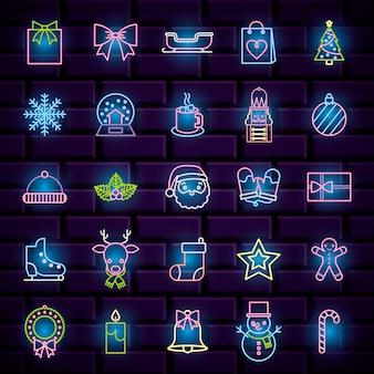 Zestaw ikon neon boże narodzenie. ilustracja