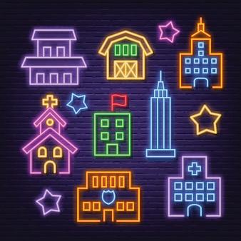 Zestaw ikon neon budynku