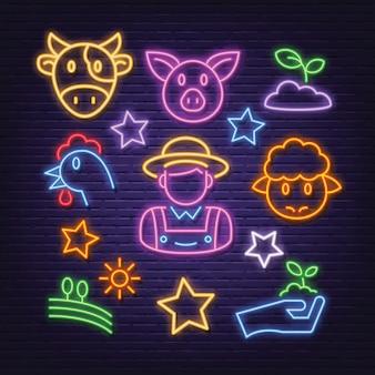 Zestaw ikon neon rolnictwa