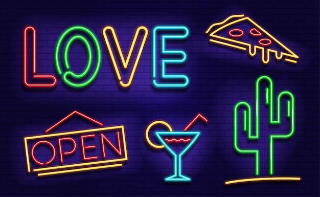 Zestaw ikon neonowych. neonowe obrazy do kasyn, barów, kawiarni.