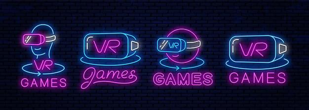 Zestaw ikon neonowych rzeczywistości wirtualnej