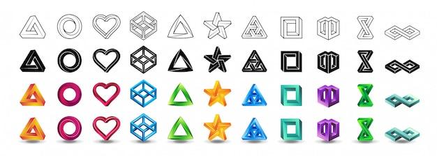 Zestaw ikon niemożliwych kształtów