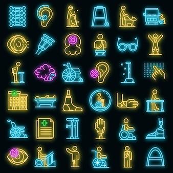 Zestaw ikon niepełnosprawnych. zarys zestaw ikon wektorowych niepełnosprawnych w kolorze neonowym na czarno