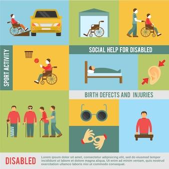 Zestaw ikon niepełnosprawnych