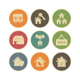 Zestaw ikon nieruchomości do użytku osobistego i komercyjnego