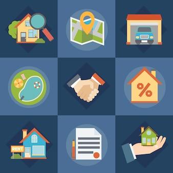 Zestaw ikon nieruchomości i pośredników w obrocie nieruchomościami