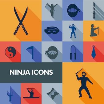 Zestaw ikon ninja czarny