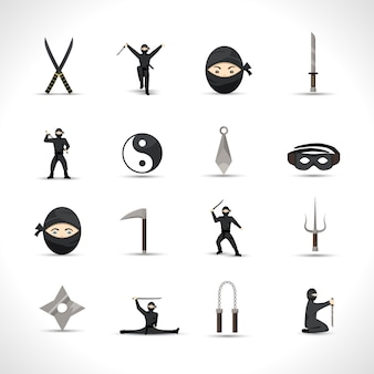 Zestaw ikon ninja