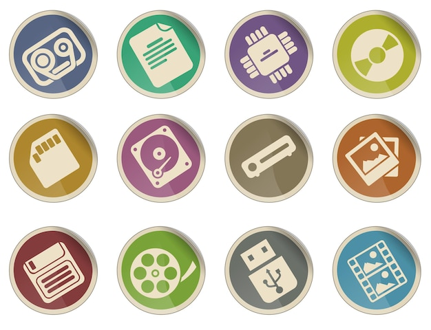 Zestaw ikon nośników informacji