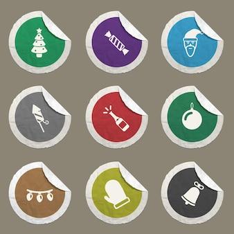 Zestaw ikon nowego roku dla stron internetowych i interfejsu użytkownika