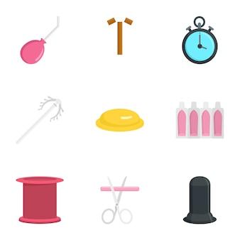 Zestaw ikon nowoczesnej antykoncepcji, płaski