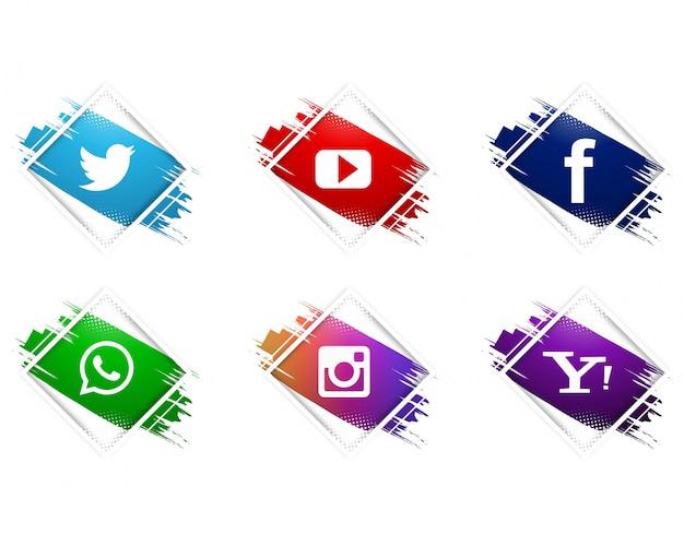 Zestaw ikon nowoczesnych mediów społecznych akwarela