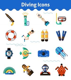 Zestaw ikon nurkowania