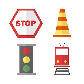 Zestaw ikon o transporcie. z pociągiem, znakiem stop, stożkiem i sygnalizacją świetlną w stylu płaskim