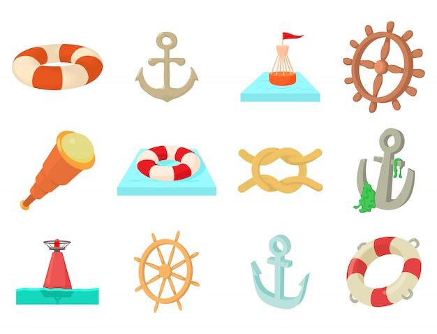 Zestaw ikon obiektów morskich