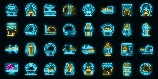 Zestaw ikon obrazowania rezonansu magnetycznego. zarys zestaw ikon wektorowych do obrazowania rezonansem magnetycznym w kolorze neonowym na czarno