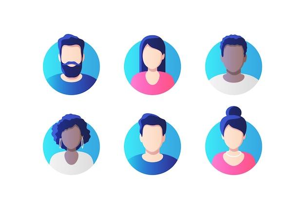 Zestaw ikon obrazu profilu awatara, w tym mężczyzn i kobiet