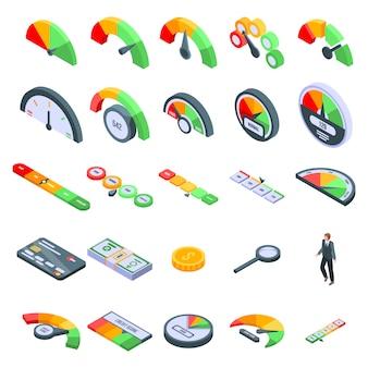Zestaw ikon ocena zdolności kredytowej, izometryczny styl