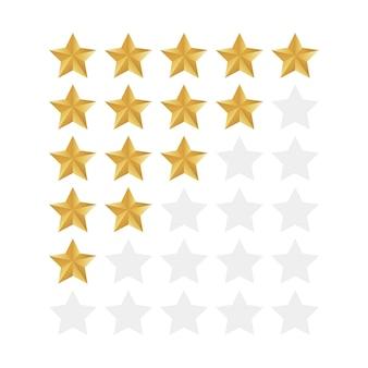 Zestaw ikon oceny pięciu gwiazdek. poziom statusu izolowanego wskaźnika jakości dla sieci lub aplikacji.