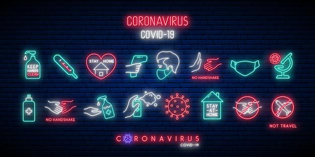 Zestaw ikon ochrony covid-19 w stylu neonowym.