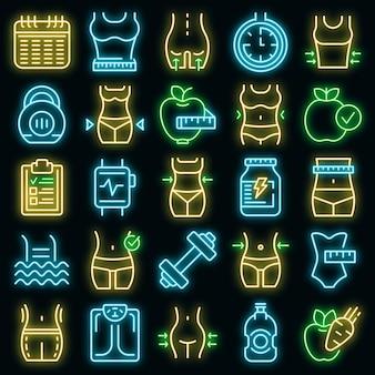 Zestaw ikon odchudzających wektor neon