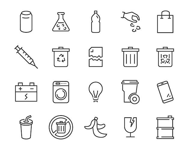 Zestaw ikon odpadów, takich jak śmieci, zanieczyszczenia, brudne, śmieci, przemysł