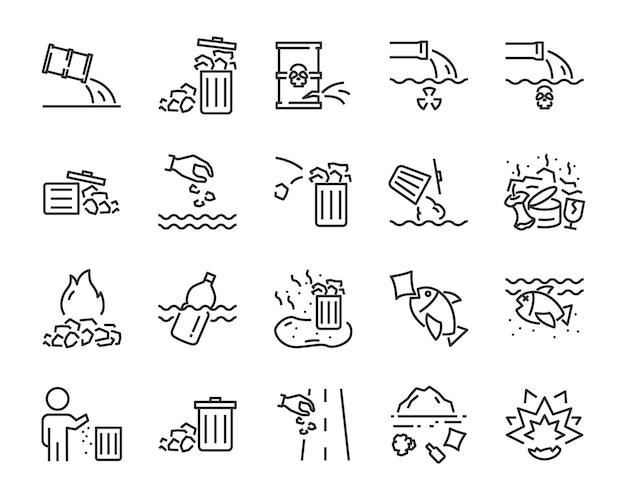 Zestaw ikon odpadów, takich jak zanieczyszczenie, brudne, kosz, plastik, odpady przemysłowe