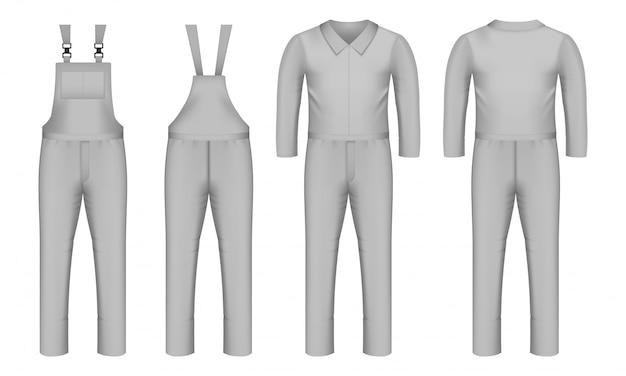 Zestaw ikon odzieży roboczej, realistyczny styl