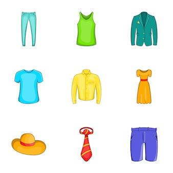 Zestaw ikon odzieży, stylu cartoon