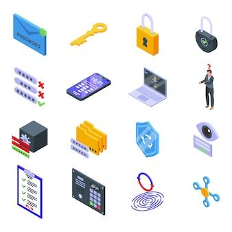 Zestaw ikon odzyskiwania hasła. izometryczny zestaw ikon odzyskiwania hasła dla sieci na białym tle