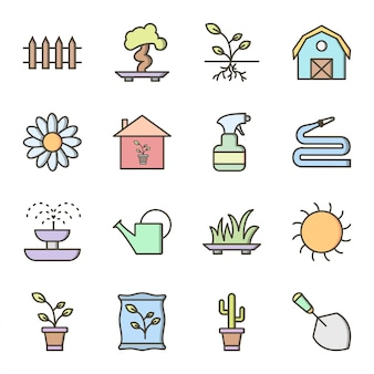 Zestaw ikon ogrodnictwa