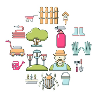 Zestaw ikon ogrodnik, stylu cartoon