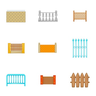 Zestaw ikon ogrodzenia architektury, stylu cartoon