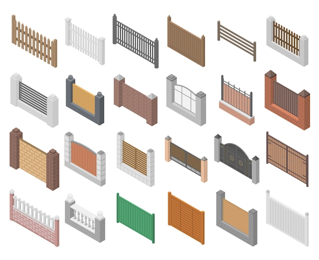 Zestaw ikon ogrodzenia, izometryczny styl
