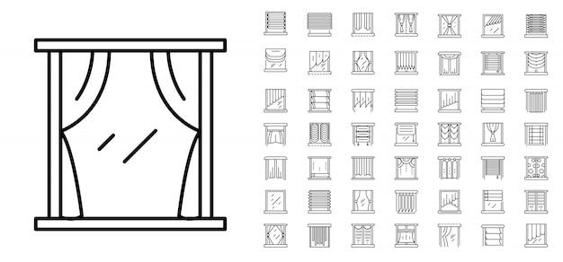 Zestaw ikon okna niewidomego. zarys zestaw ikon wektorowych niewidomych okno