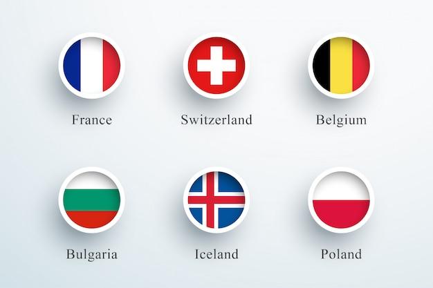 Zestaw ikon okrągłej flagi francja szwajcaria belgia