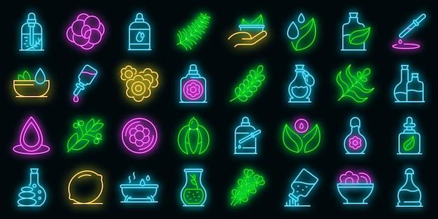 Zestaw ikon olejków eterycznych. zarys zestaw olejków eterycznych wektorowe ikony neon kolor na czarno