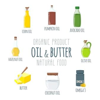 Zestaw ikon oleju, tłuszczu, masła.